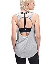 Queenie Ke Women's Yoga Shirts Sports Tops Super Soft Knit Cowl Back Tank Size S Color Light Grey