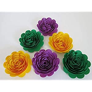 """Mardi Gras Theme Party Decorations, Set of 6 Green, Purple and Yellow 3"""" Roses, Handmade Paper Flowers, Always In Blossom Popular Floral Decor 1"""