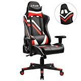 Homall Gaming Chair Pu Leather Bucket Seat Racing Style Seat Gaming Chair w/ Adjustable Armrest Ergonomic Headrest and lumbar Support(Red)
