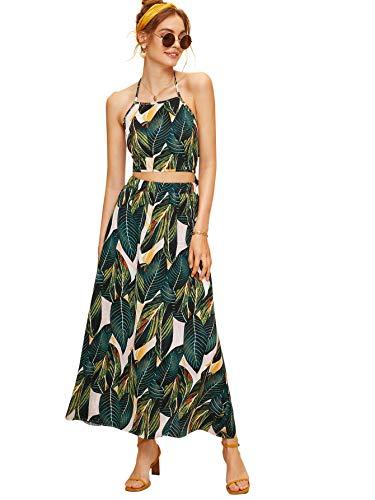 Tropical Print Skirt - Floerns Women's Halter Neck Knot Back Tropical Print Beach Skirt Set Green S