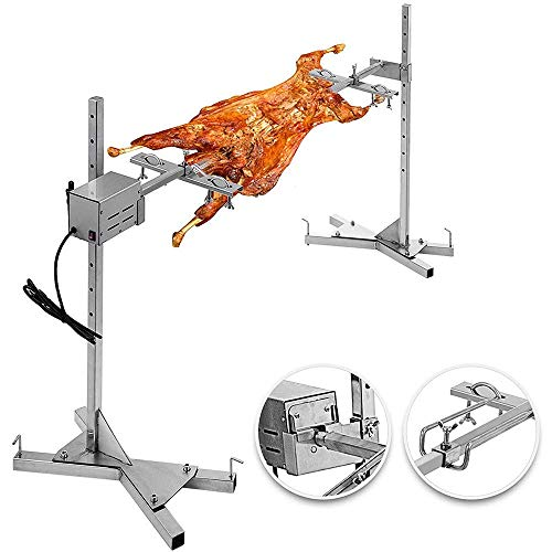 4YANG Electric 51″ 110-154 Pounds BBQ Rotisserie Grill Kit, Stainless Steel 15W 50-70Kg Universal Rotisserie Motor kit Used As Outdoor Automatic Grill for for Pig Rotisserie Hog Lamb
