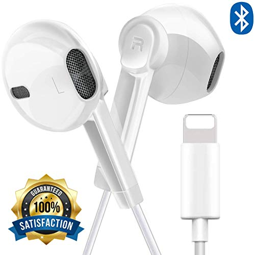 Ultimate-Audio Headphone, Bluetooth Enabled Earbud Earphones Stereo Sound Wired Microphone Controller Headset Compatible for Phone 7/7 Plus/8/8 Plus/Phone X (White)