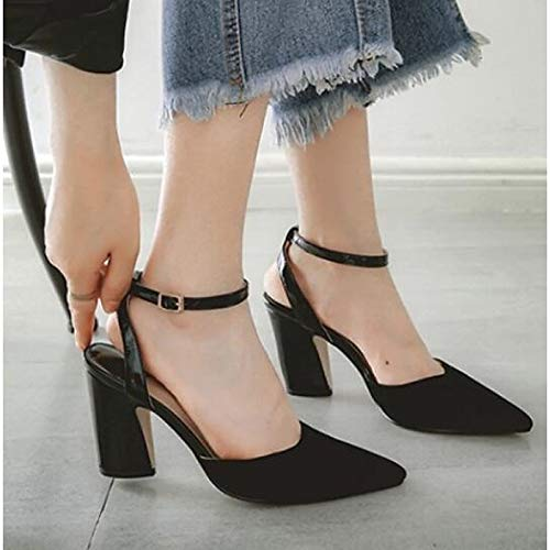 Basic Heels Black Shoes Summer ZHZNVX Heel Women's Chunky Leather Champagne Champagne Pump Nappa TqxXwF