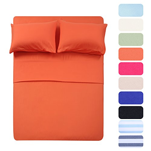 - Homelike Collection Bed Sheet Set - 1 Flat Sheet,1 Fitted Sheet and 2 Pillow Cases, Extra Soft Luxury Bedding Set,Deep Pockets,Wrinkle,Fade Resistant - Hypoallergenic- 4 Piece (Queen,Coral)