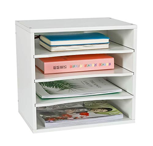 PAG Office Supplies Desk Organizer Wood File Mail Sorter with 3 Adjustable Drawer Boards, White ()