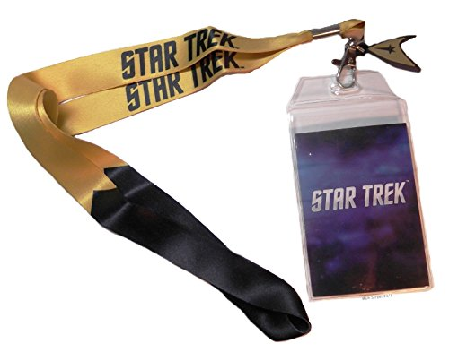 Star Trek COMMAND GOLD ID Holder LANYARD Keychain with Logo Charm