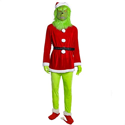 Grinch Costume Mask Set Santa Hat Shoes Gloves Costume Suit Christmas Suits Male L -