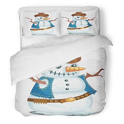 Emvency Decor Duvet Cover Set Full/Queen Size Cowboy Snowman in The Western Style Hat Christmas Man Snow Bandoleer Branches 3 Piece Brushed Microfiber Fabric Print Bedding Set Cover