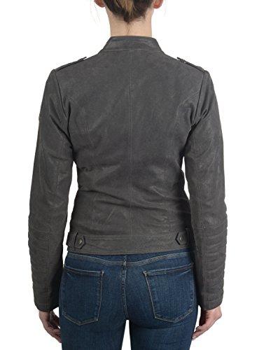 of Collar with Leather Made Genuine Women's Zalla Leather Biker Dark Jacket 2890 Desires Grey Jacket Revers EYq8wvRxR