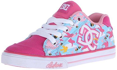 DC Chelsea Graffik Lowtop Skate Shoe (Little Kid/Big Kid), Crazy Pink/Blue Radiance, 5.5 M US Big (Dc Pink Skateboard Shoe)