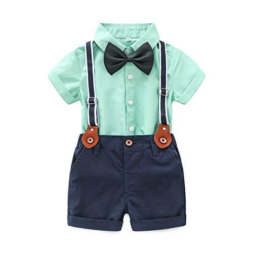 Baby Boys Short Sleeve Gentleman Outfits Suits Shirt Suspender Pants with Bowtie Infant Overalls Clothing Set