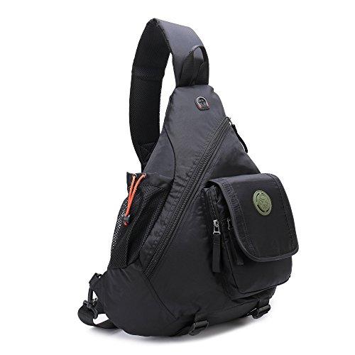 Sling Bags Chest Backpack Crossbody Book Bag For School Travel Daypack ( Black) - Logo Sling Backpack
