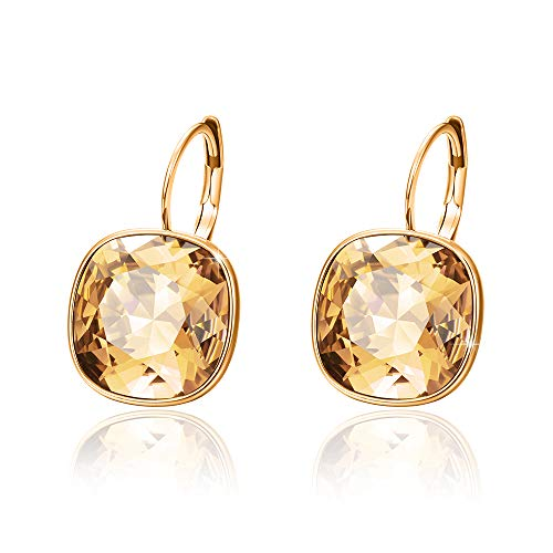 - Xuping Halloween Gorgeous Fashion Crystals from Swarovski Huggies Hoop Earrings Women Girl Party Jewelry Gifts (18K+Crystal Golden Shadow)