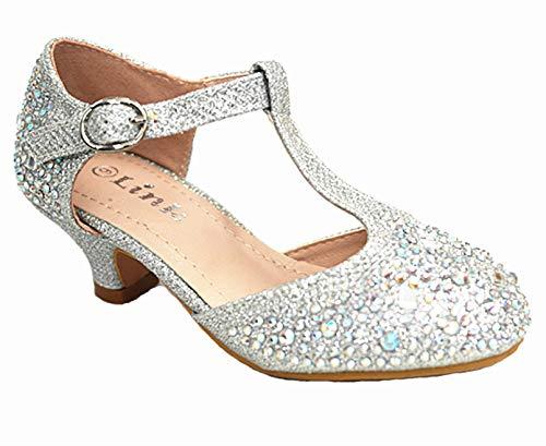 Link SF Riley-79K Girls Youth Pageant Jewel Rhine Stone Mary Jane High Heel Dress Shoes (1 M US, Silver -12k)