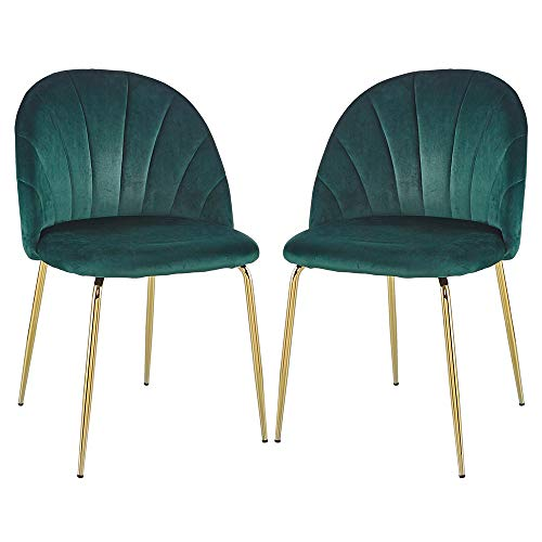 Modern Dining Chair Set of 2 with Iron Tube Golden Legs, Velvet Cushions and Comfortable Backrest, Suitable for Dining Room, Living Room, Cafe, Simple Structure, Easy Installation. Green