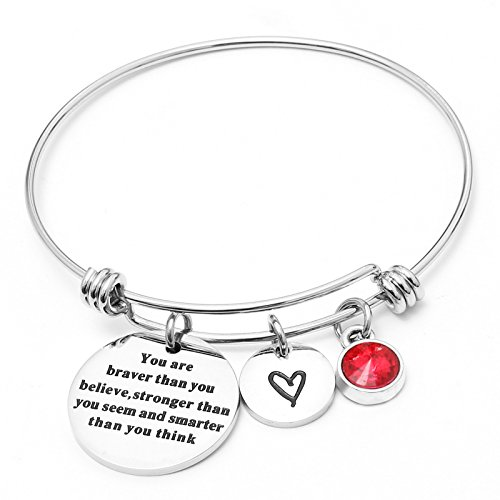 Liuanan Birthstone Jewelry You Are Braver Than You Believe Bangle Bracelets For Women Girls Gift