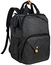 Hap Tim Baby Diaper Bag Backpack Large Capacity Double Compartment with Stroller Straps,Waterproof Nappy Bag Backpack for Newborn Mother/Father(CA7340-DG)
