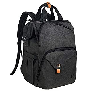 Hap Tim Diaper Bag Backpack,Large Capacity Travel Back Pack Maternity Baby Nappy Changing Bags, Double Compartments with Stroller Straps,Waterproof,Black (US7340-DG)