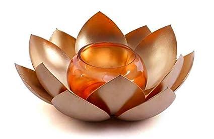 Buy Ethnic Golden Metal Tea Light Holder For Pooja Ghardiwali Gift