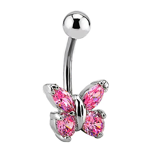 Charisma Stainless Steel Pink Butterfly Cubic Zirconia Navel Belly Button Ring Bar Barbell Piercing