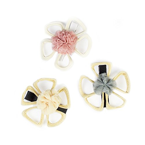 FRILLS Flower Outline Hair Clip for Baby Girl Toddlers - (SET OF - Tortoise Outline