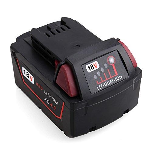Milwaukee Ersatzakku FLAGPOWER Li-ion Batterie M18 18V 4000mAh Akku für Milwaukee M18 XC 48-11-1815 48-11-1820 2601 2610 2611 2620 2630 2650