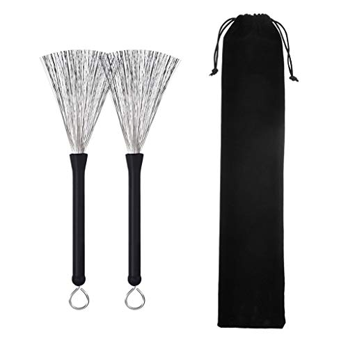 Drum Brushes Wire Retractable 1 Pair - Drum Brushes Set with Portable Storage Bag Comfortable Rubber Handles for Jazz Rock Acoustic Music Lover Beginners by POLILI (Best Small Jazz Drum Kit)