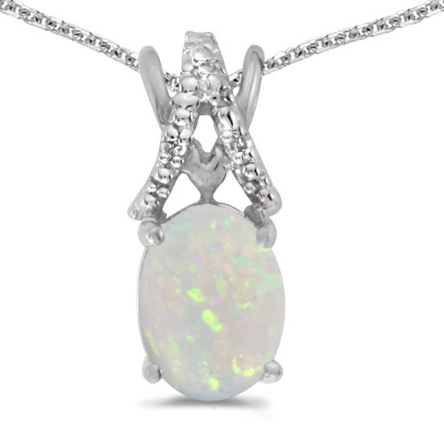 14k Opal Necklace - 14k White Gold Oval Opal And Diamond Pendant with 18