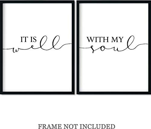It is Well with My Soul Wall Art Decor Print - Set of 2-11x14 unframed prints ()