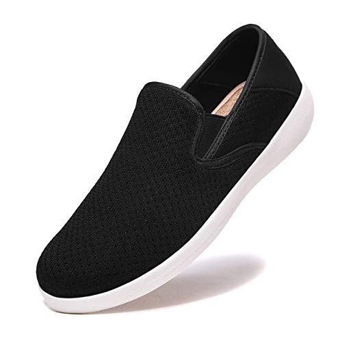 aeepd Women Fashion Trainers Slip on Shoes Walking Loafer Arch Support Comfort Anti-skidding Black