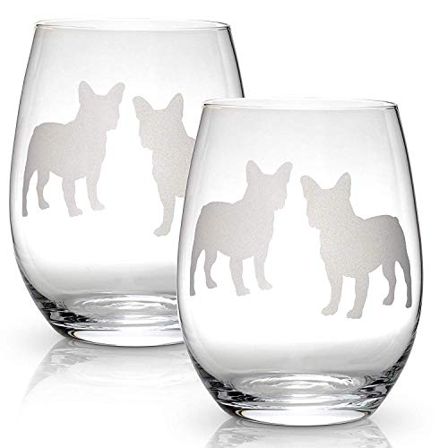 Boston Terrier Stemless Wine Glasses (Set of 2) | Unique Gift for Dog Lovers | Hand Etched with Breed Name on - Gifts Terrier