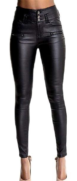 7e14ae565bf0 Leggins Pelle Donna Primaverile Elegante Moda Autunno Alta Vita Pantaloni  Abbigliamento Festivo Vintage Slim Fit Pantaloni Pelle con Tasche Monocromo  ...