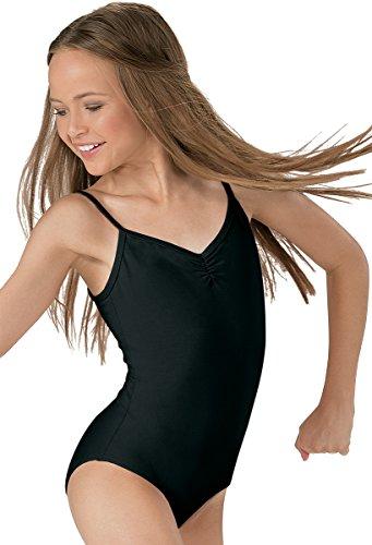 - Balera Girls' Cotton Dance Leotard Camisole Style Pinch Front Black Child Large