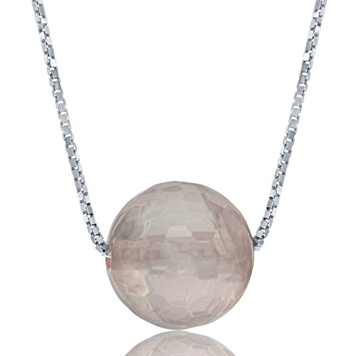 Sterling Silver 8mm Faceted Bead Natural Rose Quartz 17+1
