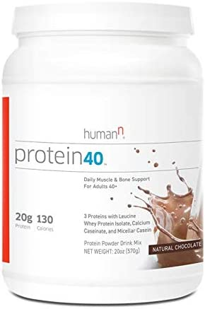 HumanN Protein40 Complete Protein Blend for Daily Muscle and Bone Health Chocolate, 21-Ounce