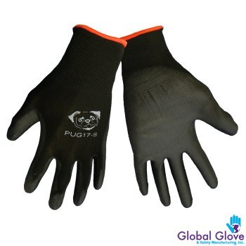 Global PUG Work Glove PUG17L Polyurethane/Nylon Glove, Work, Large, Black, (12 PAIR) by Global Glove