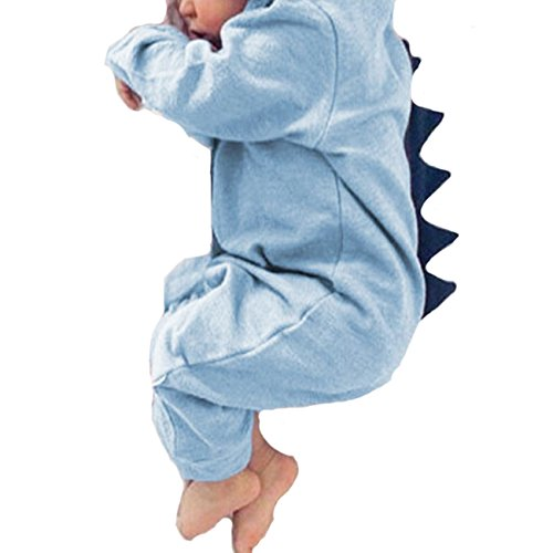 DRESHOW BQUBO Baby Cartoon Onesies Disnosaur Romper Long Sleeve One-Piece Jumpsuit (Light Blue/Button Front, (Baby Boy Light Blue Romper)