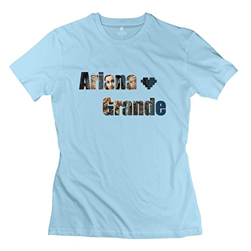 BXGD- Women's New Style Tshirt Ariana Grande Singer Size L SkyBlue