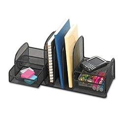Safco - Onyx Mesh Desk Organizer Three Sections/Two Baskets 17 X 6 3/4 X 7 Black \