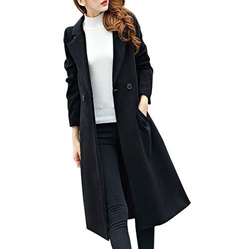 Womens Long Woolen Coat, Sunyastor Fashion Double Breasted Lapel Walker Overcoat Parka Jacket Thick Warm Cardigan ()