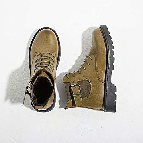 Army Green US6.5-7   EU37   UK4.5-5   CN37 Army Green US6.5-7   EU37   UK4.5-5   CN37 Women's PU Fall Combat Boots Boots Flat Heel Round Toe Black Army Green Dark Brown