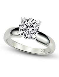 Sterling Silver Cubic Zirconia Solitaire 1.25 Carat tw Round Cut 4-Prong Set CZ Engagement Ring