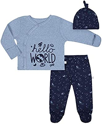 Just Born Baby Boys 3 Piece Organic Take Me Home Outfit Space 6