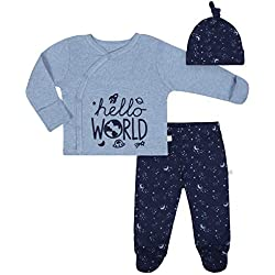 JUST BORN Baby Boys' 3-Piece Organic Take me Home Outfit, Space, 0-3 Months