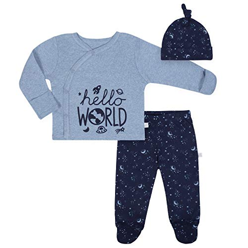 3 Mitten Piece Set (Just Born Baby Boys' 3-Piece Organic Take me Home Outfit, Space, Newborn)