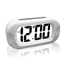 eBoTrade Digital Alarm Clock, Silicone Protective Large Screen Digital LCD Desk Travel Alarm Clock with Snooze Light White