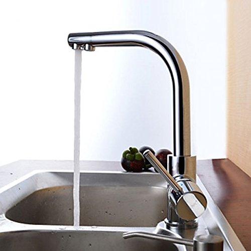 Robinet de cuisine à poignée unique, un robinet de style contemporain fini en métal chromé