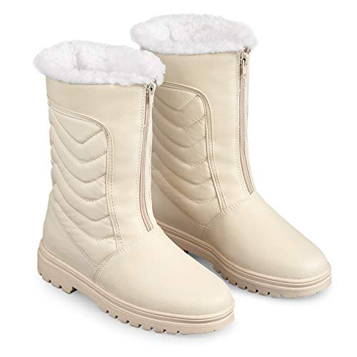 - Zip Front Winter Snow Boot with Ice Grips, Cream, 8