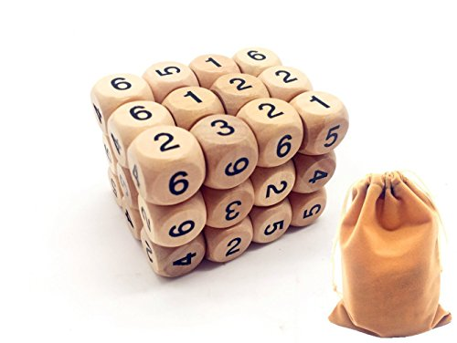 Guaishou Wooden Numerals 16mm Dice Block Set of 36 With Bag by Guaishou