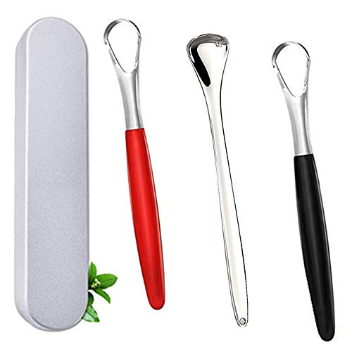 3 Pack Tongue Scraper Cleaner Stainless Steel Fresh Breath Tongue Scrapers Metal Tongue Scraping Cleaner for Oral Care (3Pack-3Color)